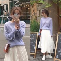 【現貨】浪漫與率性的邂逅.超柔軟淺紫色毛衣+微不規則雪紡百褶長裙