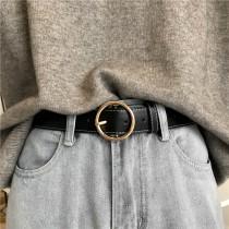 【預購】復古百搭款金屬大圓扣皮帶~2色