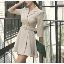 【預購】知性女伶.韓風西裝領收腰小洋裝小禮服