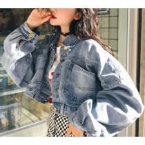 【預購】原宿風復古刷色短版牛仔外套