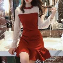 【預購】名媛風拼接半透膚蕾絲+修身荷葉裙襬小洋裝~2色