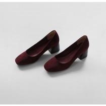 【預購】簡約復古.絨面方頭中跟奶奶鞋~5色