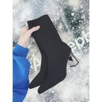 【現貨】簡約奢華風.金屬高跟尖頭襪靴(39號)