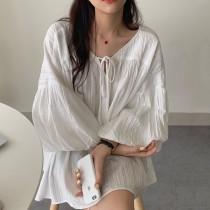 【預購】微歐美 度假風 兩穿式燈籠袖上衣洋裝