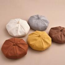 【預購】可以摺疊打開又很挺的針織貝蕾帽畫家帽~6色