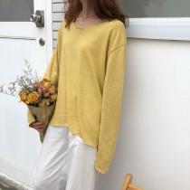 【現貨】溫柔風秋冬百搭粗針織上衣(黃色賣場)