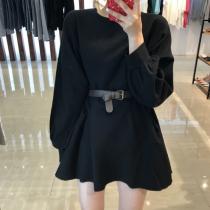 【現貨】怎麼穿都好瘦!復古慵懶風上衣洋裝(黑色)