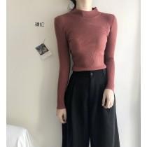 【現貨】天冷必備小高領打底針織衫(磚紅色)