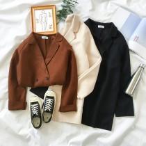 【現貨】文藝復古風.薄毛呢西裝領風衣外套(深棕色)