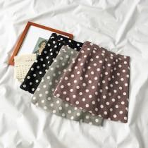 【預購】秋冬超百搭的點點復古燈芯絨A字短裙~6色
