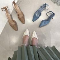 【預購】東大門款.質感抓皺小低跟涼鞋~3色
