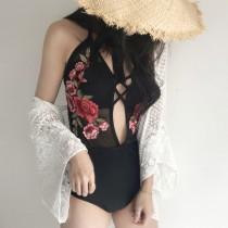 【預購】歐美優雅性感刺繡花朵連身泳衣