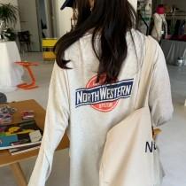 【預購】衣櫃最實穿那件!美式運動風 顯瘦慵懶 薄款長袖大學TEE~2色(限量)