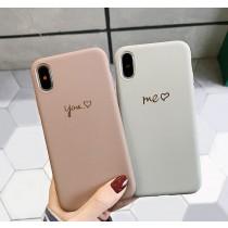 【預購】偷偷放閃...you&me簡約字樣情侶款iphone手機殼~2色