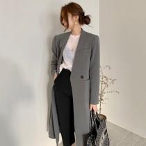 【預購】歐膩的衣櫃.微正式 穿起來很修長的長版西裝風衣外套~2色