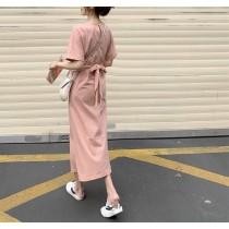 【預購】法式淺粉色棉質綁帶前開衩長洋裝