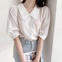 【預購】可愛文藝風.娃娃領 五分袖襯衫上衣~2色