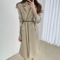 【預購】質感英倫.設計款 超顯瘦長版西裝風衣外套~2色