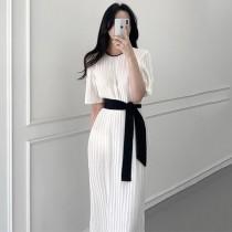 【預購】法式優雅風.壓褶雪紡 撞色綁帶長洋裝(附贈內裡襯裙)