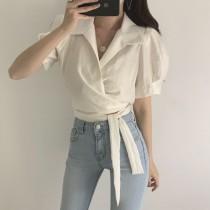 【預購】歐膩的衣櫃.多穿法綁帶襯衫短上衣~2色