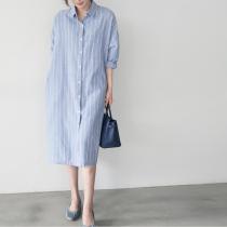 【預購】自信小女人.男友風寬鬆感條紋長版襯衫洋裝~2色(S~2XL)