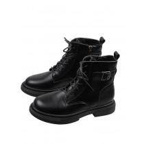 【預購】金屬飾扣.側拉鍊綁帶 百搭款馬丁靴(35~40)