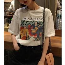 【預購】古著少女.印花短袖棉T~2色