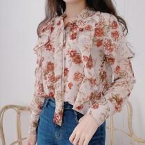 【預購】微復古荷葉邊大花朵襯衫上衣
