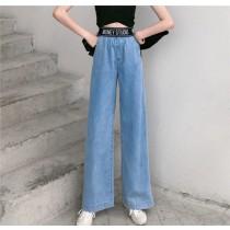 【預購】復古字母彈力腰圍牛仔寬褲