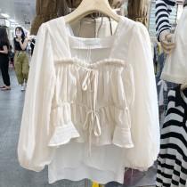 【預購】東大門款.浪漫抓皺 質感方領泡泡袖襯衫上衣~2色
