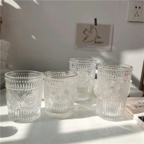 【預購】質感北歐風.立體太陽花紋玻璃杯~4款