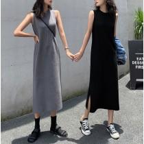 【預購】必備款!超百搭圓領無袖針織洋裝~2色