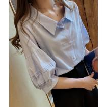 【預購】韓風小眾設計感燈籠袖襯衫~3色(M~4XL)
