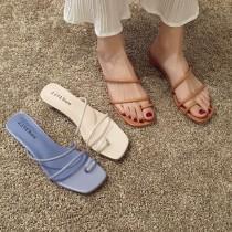 【預購】韓風細帶套趾小圓低跟拖鞋~3色