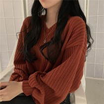 【預購】復古慵懶風.秋冬超實穿燈籠袖V領短版針織上衣~6色