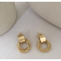 【預購】歐美風設計款幾何圈圈925銀針耳環