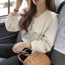 【預購】溫柔女子專用.韓IG 大領子棉質長袖襯衫~2色