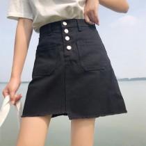 【預購】廠商熱賣回饋款!高腰排扣不規則下擺牛仔A字短裙~2色