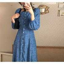 【預購】法式浪漫風兩穿式藍色長洋裝