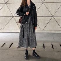 【預購】偶爾也想帥氣一下.皮衣外套 + 碎花長洋裝套裝(外套與洋裝需分開購買唷)