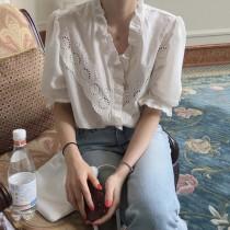 【預購】韓 木耳邊五分袖襯衫上衣