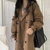 【預購】復古文藝風.質感百搭款 西裝領長風衣外套~2色