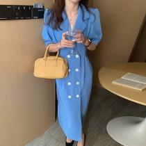【預購】法式日常.西裝領 收腰短袖雪紡長洋裝~3色