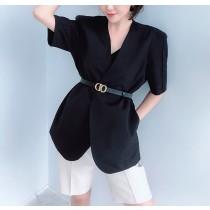 【預購】法式質感短袖西裝外套 + 腰帶~2色