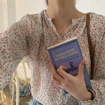 【預購】韓溫柔風橘粉色系小碎花雪紡襯衫上衣
