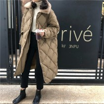 【預購】加一點毛領.防風保暖長版菱格棉服外套~2色