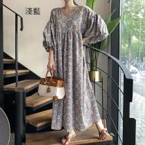 【預購】波西米亞.浪漫度假風圖騰長洋裝~2色