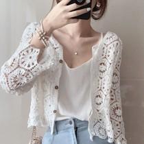 【預購】歐膩的衣櫃.溫柔風 多邊形蕾絲縷空針織衫/小外套~2色
