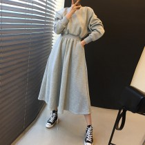 【預購】一件出門系列.氣質運動風收腰衛衣洋裝~2色