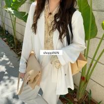 【預購】夏天的西裝.微寬鬆 知性小金扣 雪紡薄款西裝外套~3色